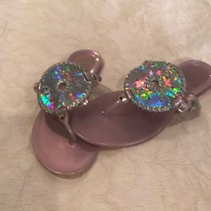 Metallic Silver and Lavender Jack Rogers Jellies